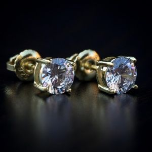 Small Gold Plated CZ Round Stud Earrings